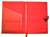 Red refillable leather journal cover inside